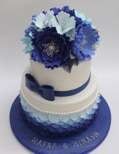 Blue Shade Floral Engagement Cake - #19