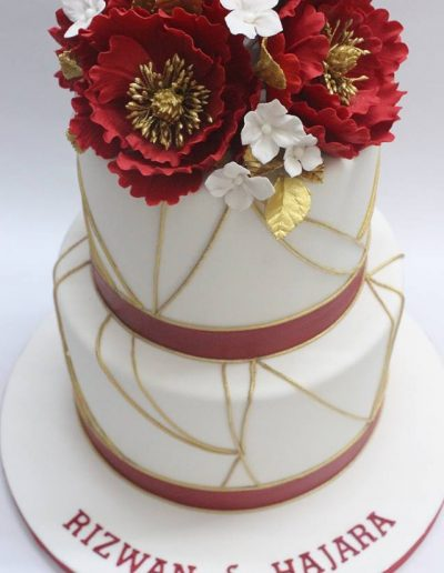 Gold & Red Peony Engagement Cake - #27