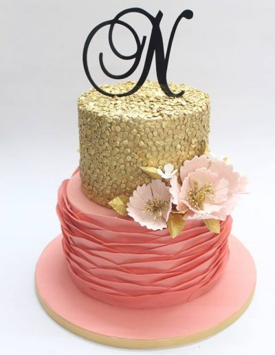 Gold & Salmon Pink Raffle Engagement Cake - #28