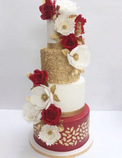 Vegan Red & Gold & White Wedding Cake - #32